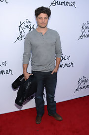 Jay Ferguson kept his red carpet look casual with this gray henley paired with jeans.