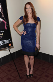 Amanda Righetti wore a blue iridescent cocktail dress with cap sleeves for the screening of 'Cats Dancing on Jupiter.'