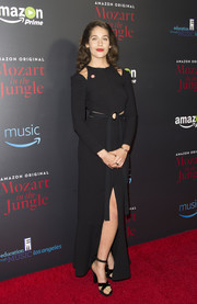 Lola Kirke chose a long-sleeve black cutout gown for the screening of 'Mozart in the Jungle.'