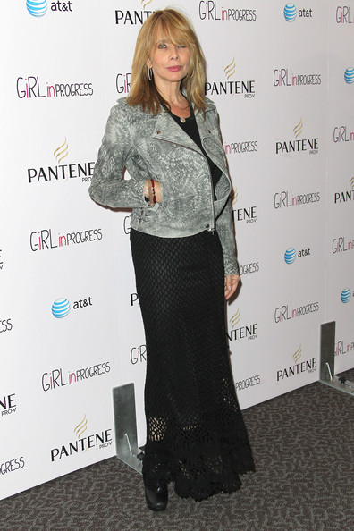 Rosanna Arquette wore this faded bleach patterned jacket over her mesh dress at the 'Girl in Progress' premiere.