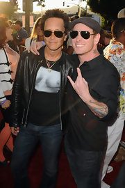 Corey Taylor's aviators and ivy cap were a cool finish to his ensemble at the 'God Bless Ozzy Osbourne' screening.