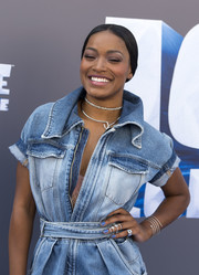 Keke Palmer styled her denim outfit with a silver wraparound bracelet by Messika for the screening of 'Ice Age: Collision Course.'