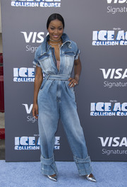Keke Palmer was utilitarian-chic in a baggy denim jumpsuit by Off-White c/o Virgil Abloh at the screening of 'Ice Age: Collision Course.'