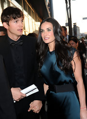 Demi Moore matched her eyeshadow to her rich blue dress at the screening of 'Killers' in Hollywood.