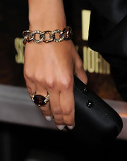 Camila Alves wowed at 'The Lincoln Lawyer' premiere wearing a knockout gold chain bracelet encrusted with diamonds.