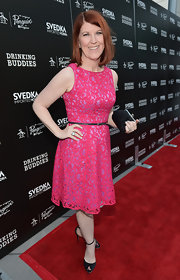 Kate Flannery chose this hot fuchsia lace dress for the Hollywood screening of 'Drinking Buddies.'