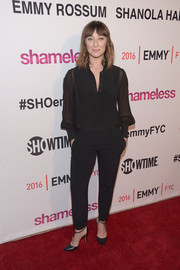 Isidora Goreshter went for easy sophistication in a semi-sheer black button-down at the 'Shameless' screening and panel discussion.