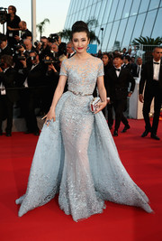 Li Bingbing made us go weak in the knees with this stunning pastel-blue princess gown by Zuhair Murad Couture at the 'Sea of Trees' premiere in Cannes.