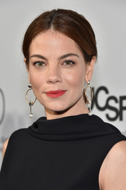 Michelle Monaghan brightened up her beautiful face with a swipe of red lipstick for the launch of the Parker Institute for Cancer Immunotherapy.
