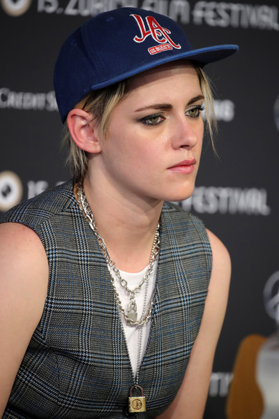 Kristen Stewart kept her baseball cap on while attending a press conference during the 2019 Zurich Film Festival.