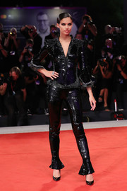 Sara Sampaio shimmered in a black sequined pantsuit by Armani Prive at the Venice Film Festival screening of 'Seberg.'