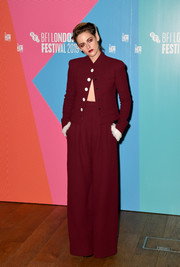 Kristen Stewart rocked a maroon wide-leg pantsuit by Chanel Couture at the BFI London Film Festival screening of 'Seberg.'