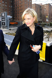 Diane Sawyer looked stylishly cozy in a black pea coat during Mercedes-Benz Fashion Week.