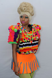 Nicki Minaj wore a mile-high platinum blond bouffant during day five of spring 2012 Mercedes-Benz fashion week.