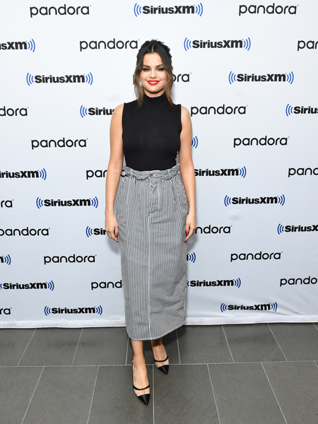 Selena Gomez Pumps [the siriusxm studios,hits1,clothing,dress,fashion,footwear,shoulder,fashion design,pencil skirt,fashion model,cocktail dress,waist,new york city,selena gomez]