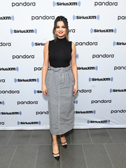 Selena Gomez kept it casual in a sleeveless black turtleneck by Leset while visiting the SiriusXM Studios in New York City.