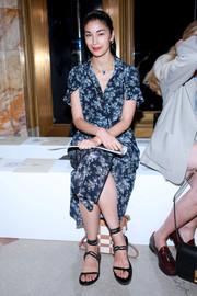 Caroline Issa paired her frock with strappy, flat sandals.