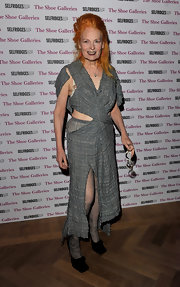 Vivienne Westwood wore quirky square-toed black pumps to the opening of the world's largest shoe department at Selfridges.
