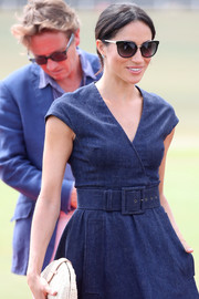 Meghan Markle geared up for sunny weather with a pair of Tom Ford cateye sunglasses at the Sentebale Polo 2018.