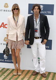 Nacho Figueras finished off his casual yet smart attire with a pair of brown leather loafers.