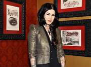 Kat Von D wore her ultra-glossy locks in loose side-swept curls at the Sephora VIP preview party for Kat's cosmetics collection.