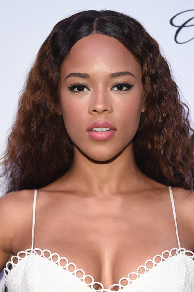 Serayah Long Curls [hair,eyebrow,face,lip,hairstyle,skin,beauty,brassiere,brown hair,chin,mr.,serayah,generationcure solstice,purple,new york city,amfar]