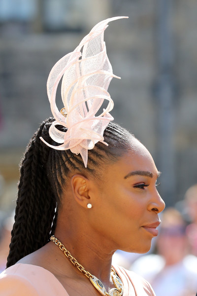 Serena Williams Long Braided Hairstyle [harry,meghan markle,serena williams,hair,headpiece,hairstyle,hair accessory,fashion,fashion accessory,headgear,ear,chignon,haute couture,windsor castle,st georges chapel,windsor,england,wedding]