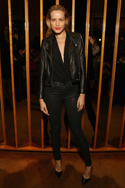 Petra Nemcova was edgy-glam in a black leather biker jacket at the premiere of 'Serena.'