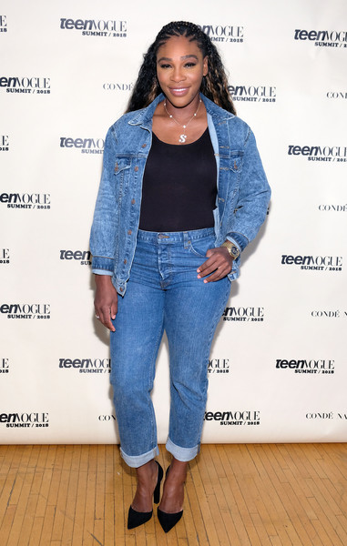 Serena Williams Denim Jacket [denim,clothing,jeans,outerwear,fashion,textile,footwear,jacket,electric blue,fashion design,serena williams,los angeles,california,72andsunny,teen vogue summit]
