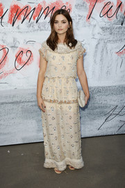 Jenna-Louise Coleman went for bohemian glamour in a beaded nude maxi dress by Chanel at the Serpentine Summer Party 2018.