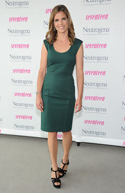 Natalie chose a fitted green sheath dress for her appearance at 'Seventeen's' celebration.