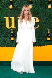Rachel Zoe looked angelic in a long-sleeve white maxi dress from her own label at the Veuve Clicquot Polo Classic.