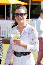 Lea Michele kept the sun out with classic cateye shades while attending the Veuve Clicquot Polo Classic.
