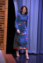 Shailene Woodley looked adorable on 'Jimmy Fallon' in a Valentino midi dress featuring a whimsical landscape print.