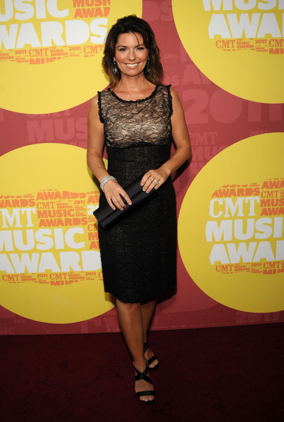 Shania Twain Satin Clutch [red carpet,clothing,dress,cocktail dress,little black dress,shoulder,carpet,premiere,flooring,style,shania twain,nashville,tennessee,bridgestone arena,cmt music awards]