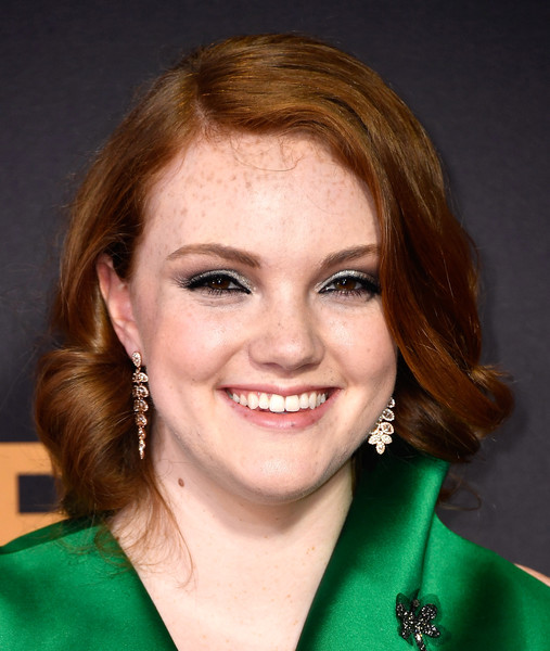 Shannon Purser Curled Out Bob [hair,face,hairstyle,eyebrow,chin,forehead,smile,blond,brown hair,lip,arrivals,shannon purser,microsoft theater,los angeles,california,primetime emmy awards]
