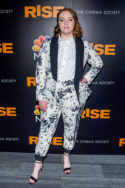 Shannon Purser Pantsuit [rise,clothing,fashion,premiere,fashion design,suit,carpet,performance,outerwear,event,fashion model,arrivals,shannon purser,new york,landmark theatre,premiere]