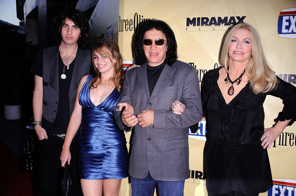 Shannon Tweed Ruffle Blouse [event,fashion,little black dress,dress,premiere,performance,arrivals,gene simmons,nick simmons,sophie simmons,shannon tweed,l-r,arclight hollywood,miramax films,premiere,premiere]