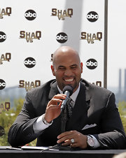 Albert Pujols wore a flashy silver chronograph watch to a press conference.
