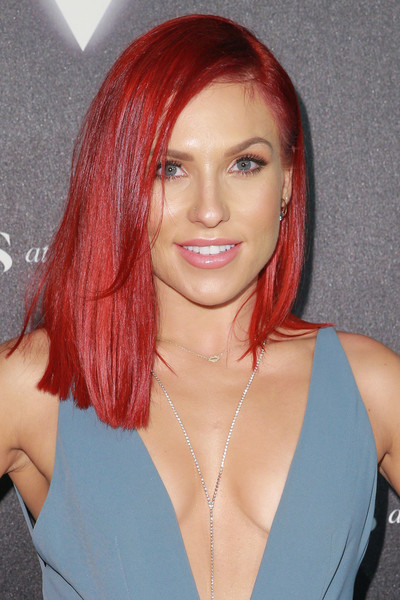 Sharna Burgess Asymmetrical Cut [hair,face,hairstyle,hair coloring,red,eyebrow,red hair,lip,chin,blond,arrivals,sharna burgess,heroes,city market social house,los angeles,california,espys]