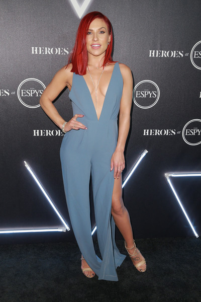 Sharna Burgess Jumpsuit [clothing,shoulder,dress,fashion,carpet,leg,red carpet,fashion model,joint,cocktail dress,arrivals,sharna burgess,heroes,city market social house,los angeles,california,espys]