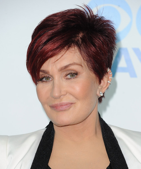 Sharon Osbourne Layered Razor Cut [hair,face,hairstyle,eyebrow,chin,hair coloring,forehead,pixie cut,lip,bob cut,sharon osbourne,daytime emmy awards,beverly hills,california,the beverly hilton hotel,cbs,party,party]