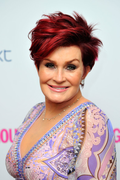 Sharon Osbourne Layered Razor Cut [hair,face,hairstyle,eyebrow,beauty,chin,hair coloring,makeover,smile,black hair,england,london,berkeley square gardens,glamour women of the year awards,arrivals,sharon osbourne]