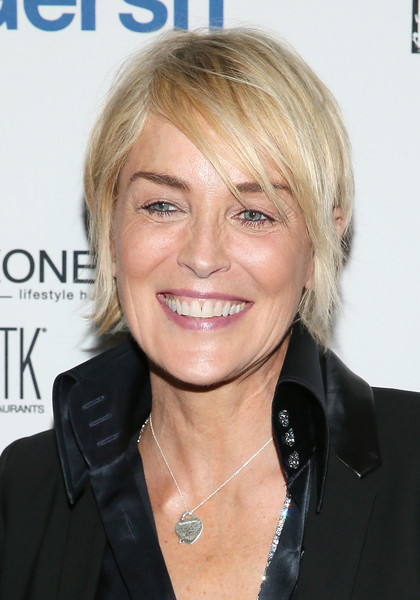 Sharon Stone Layered Razor Cut [hair,face,hairstyle,blond,eyebrow,chin,layered hair,forehead,feathered hair,hair coloring,party - arrivals,sharon stone,new york city,gansevoort,gersh upfronts,gersh upfronts party,asellina]