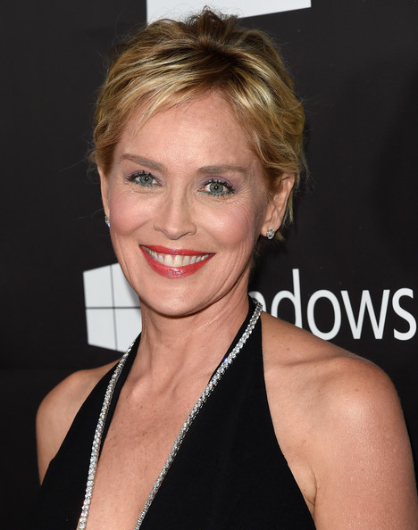 Sharon Stone Messy Cut [hair,face,hairstyle,eyebrow,blond,chin,lip,beauty,skin,shoulder,sharon stone,tom ford,los angeles,california,hollywood,amfar inspiration,red carpet,amfar global fundraising,milk studios,la inspiration gala]
