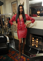 Jessica White looked dramatic in this red zip-up leather dress for the Grey Goose event.
