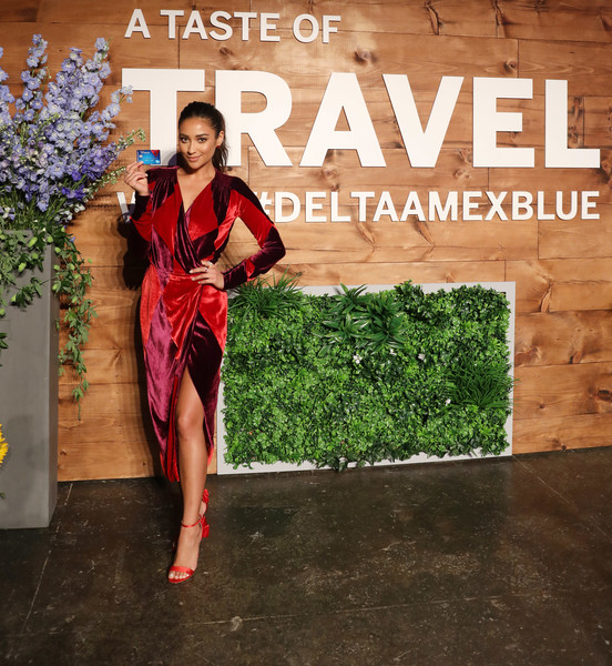 Shay Mitchell Evening Sandals [a taste of travel with deltaamexblue,fashion,dress,leg,plant,photography,flower,floral design,style,fashion design,shay mitchell,blue delta skymiles,model,taste of travel,new york city,american express,delta air lines,launch event,event]