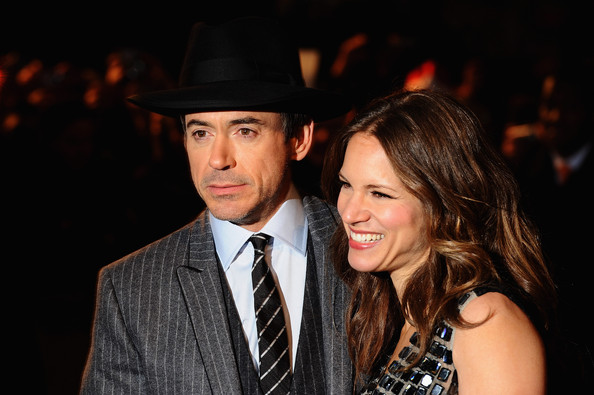 Susan Downey wore her hair in subtle waves with a center part during the 'Sherlock Holmes' premiere.