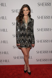 Danielle Campbell looked downright fab in a fully sequined tuxedo dress at the Sherri Hill fashion show.