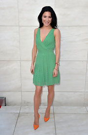Jaime Murray's mint green frock featured tan polka dots and a pleated skirt.